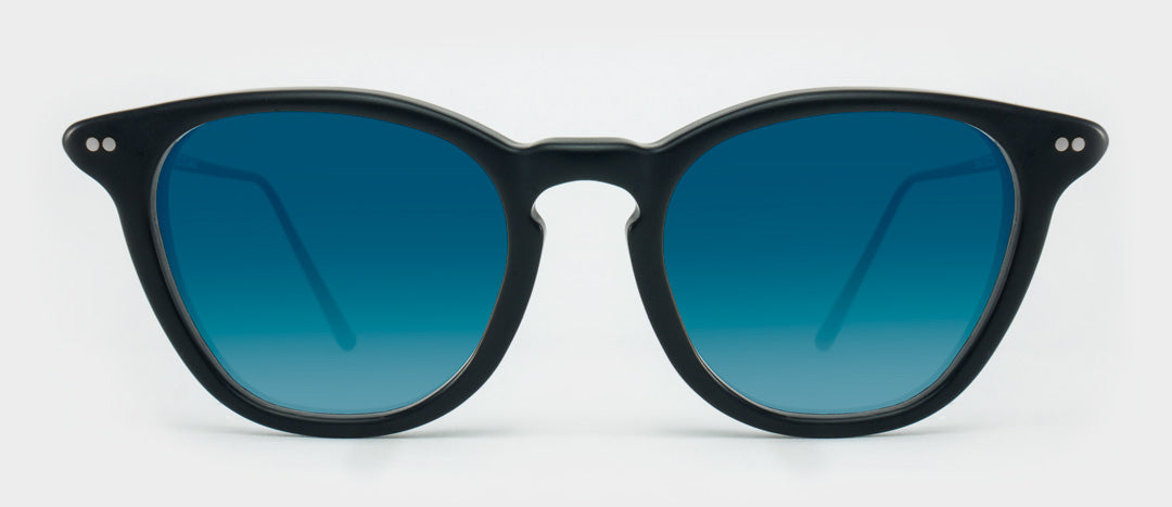 Black sunglasses with blue tinted lenses