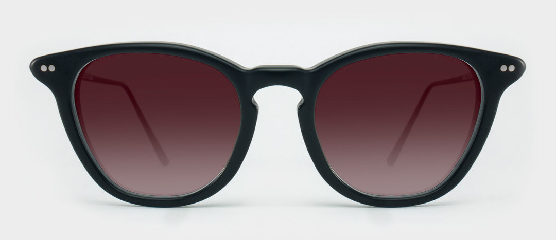 Black sunglasses with red tinted lenses
