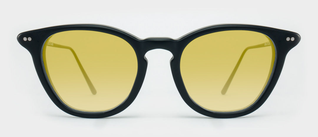 Black sunglasses with yellow tinted lenses