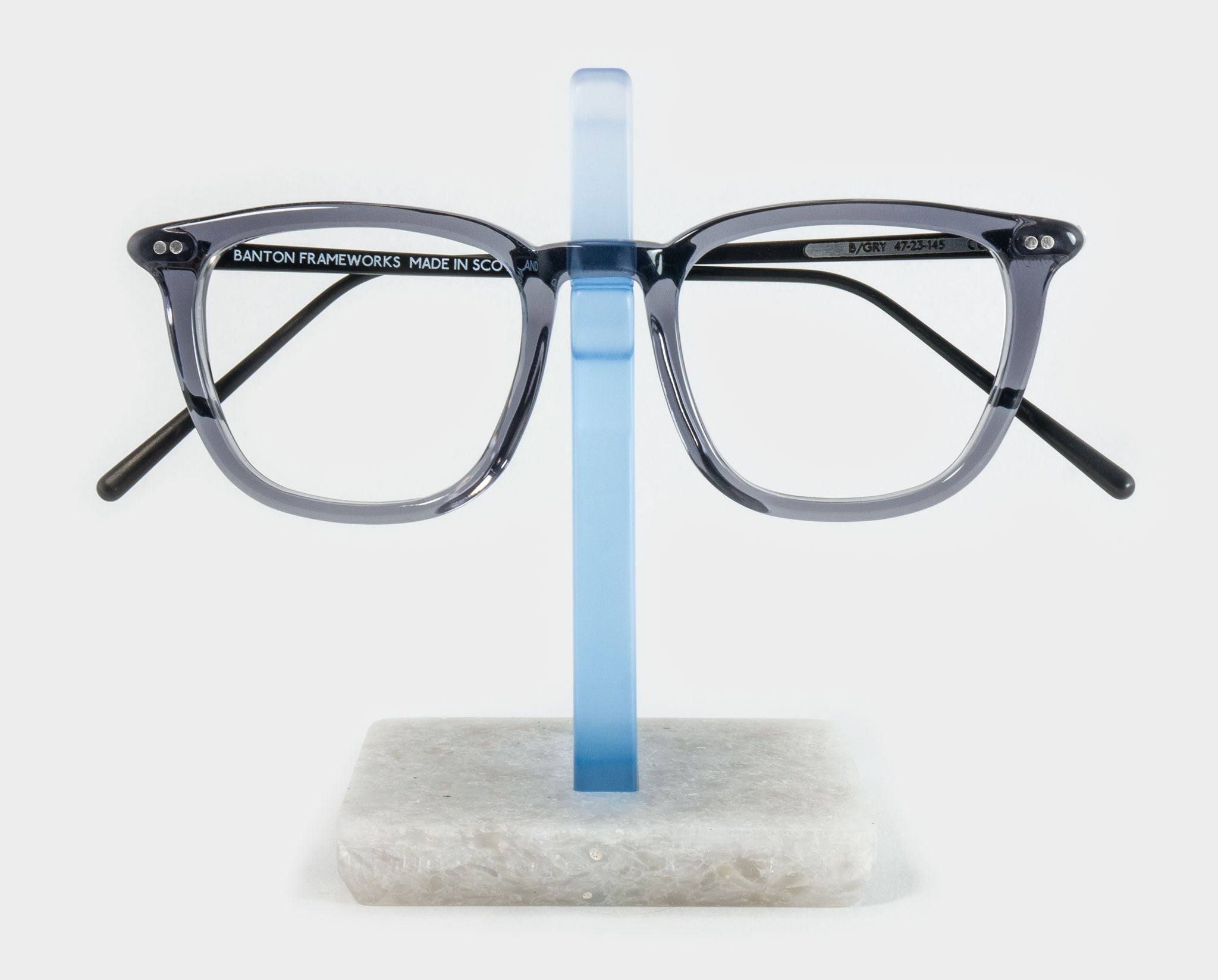 Blue Spectacle Holder with glasses front view