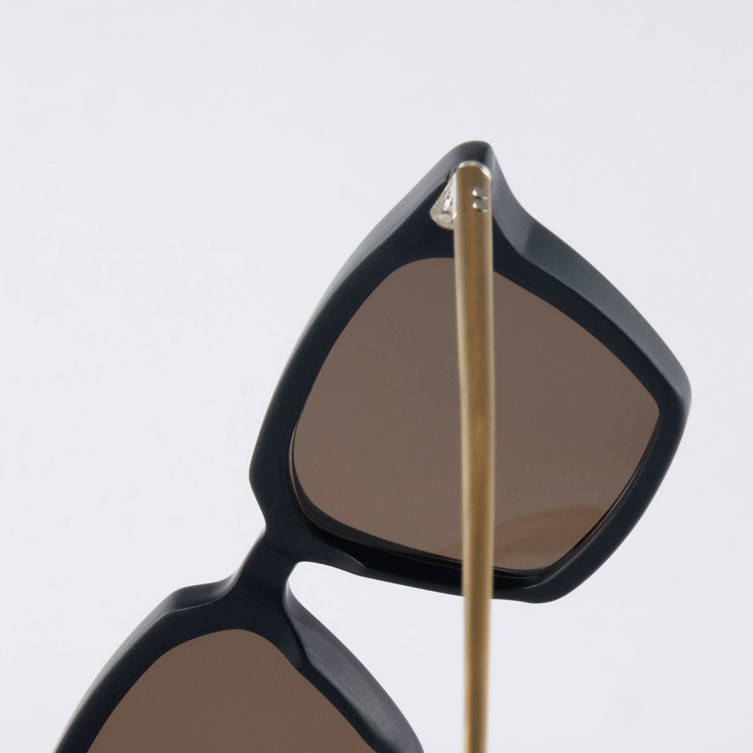 Bronze PVD coated temples on ltd edition sunglasses