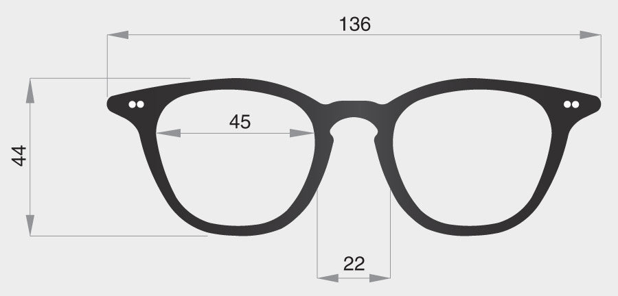 C spectacle model frame front dimensions