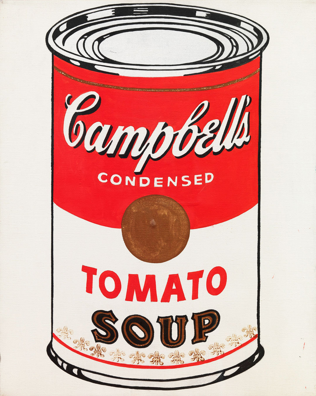Campbells soup can painting by Andy Warhol