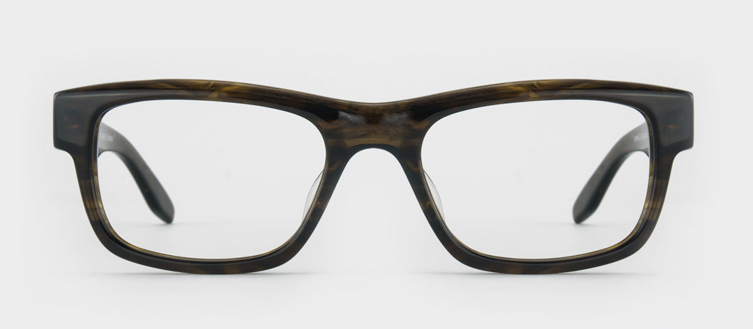 Chunky brown and blonde rectangular glasses frame