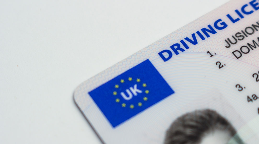 Close view of UK driving license