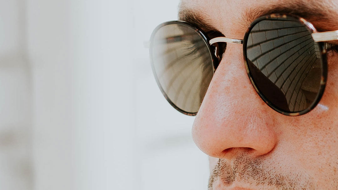 Close view of large sunglasses frame with wide bridge width