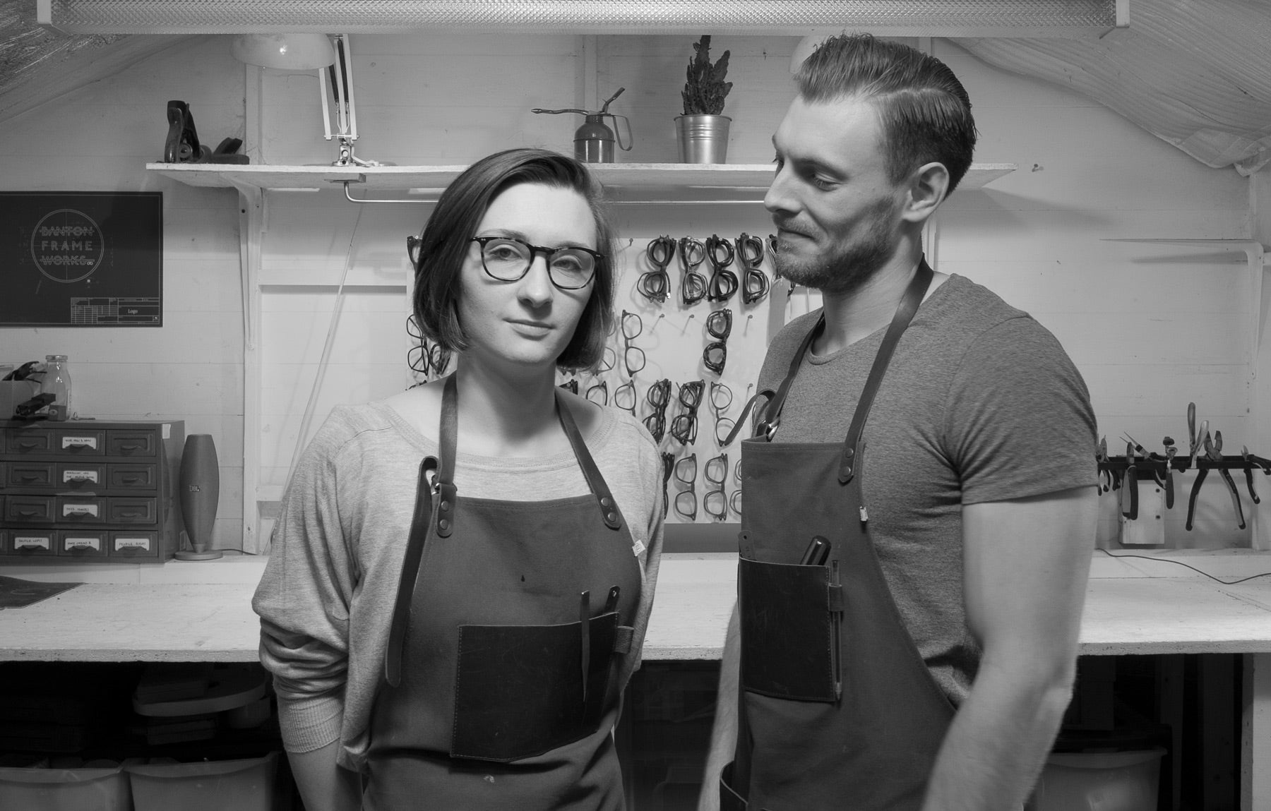 Cofounders Lucy and Jamie in Banton Frameworks workshop