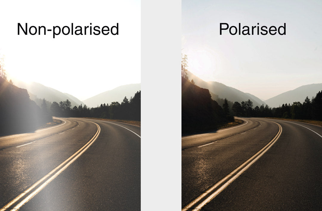 Comparison image showing the difference between polarised and non polarised sunglasses whilst driving