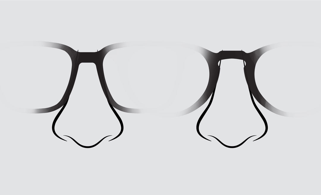 Comparison of glasses bridge shapes on drawing of nose