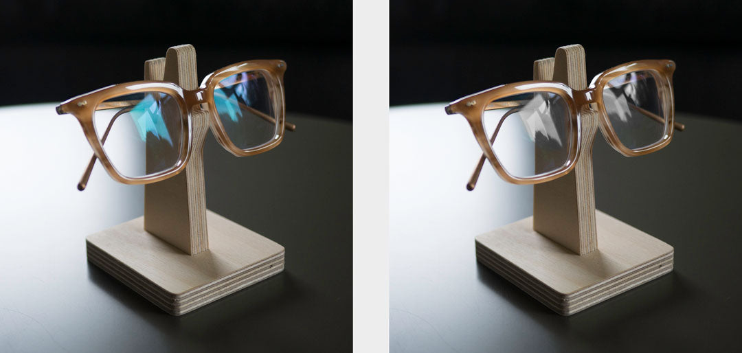 Comparison of plano lenses and demo lenses in a spectacle frame