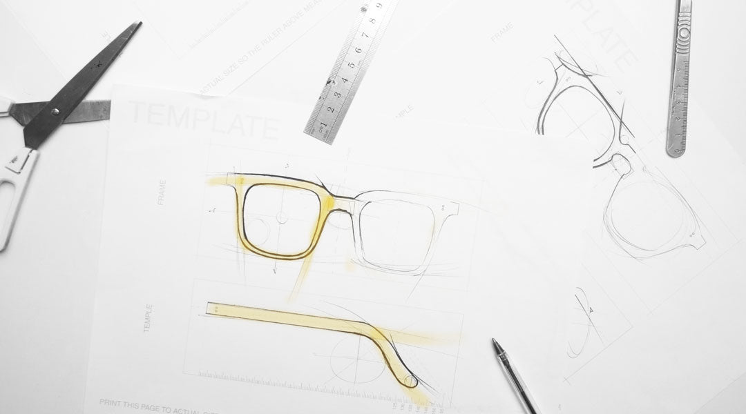 Designing glasses using an A4 paper template and drawing utensils