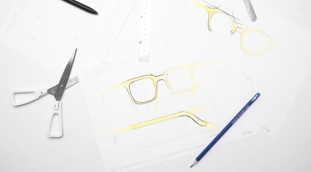 Designing glasses using pen pencil template and ruler
