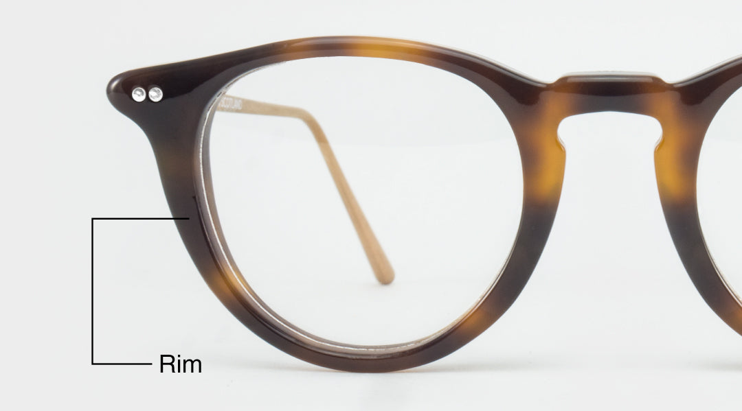 Diagram showing where the rim of a glasses frame is