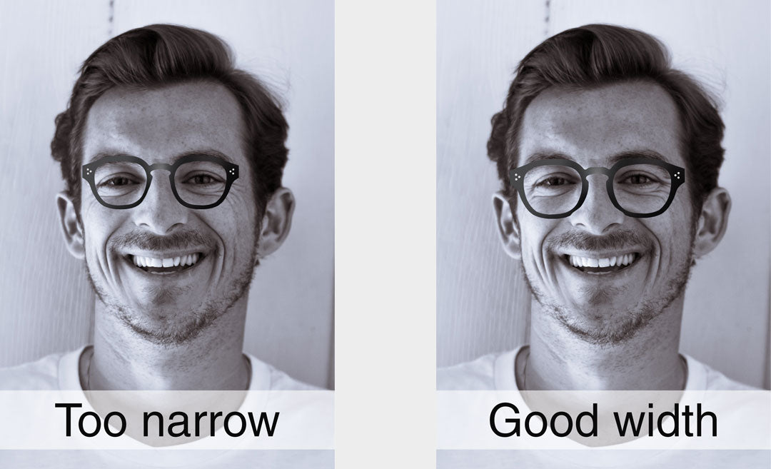 Dual comparison of man wearing glasses with different frame widths
