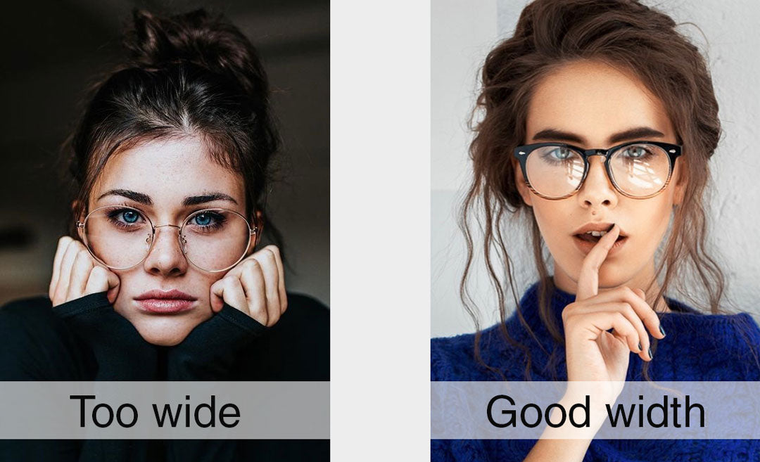 Dual comparison of women wearing glasses with different lens widths
