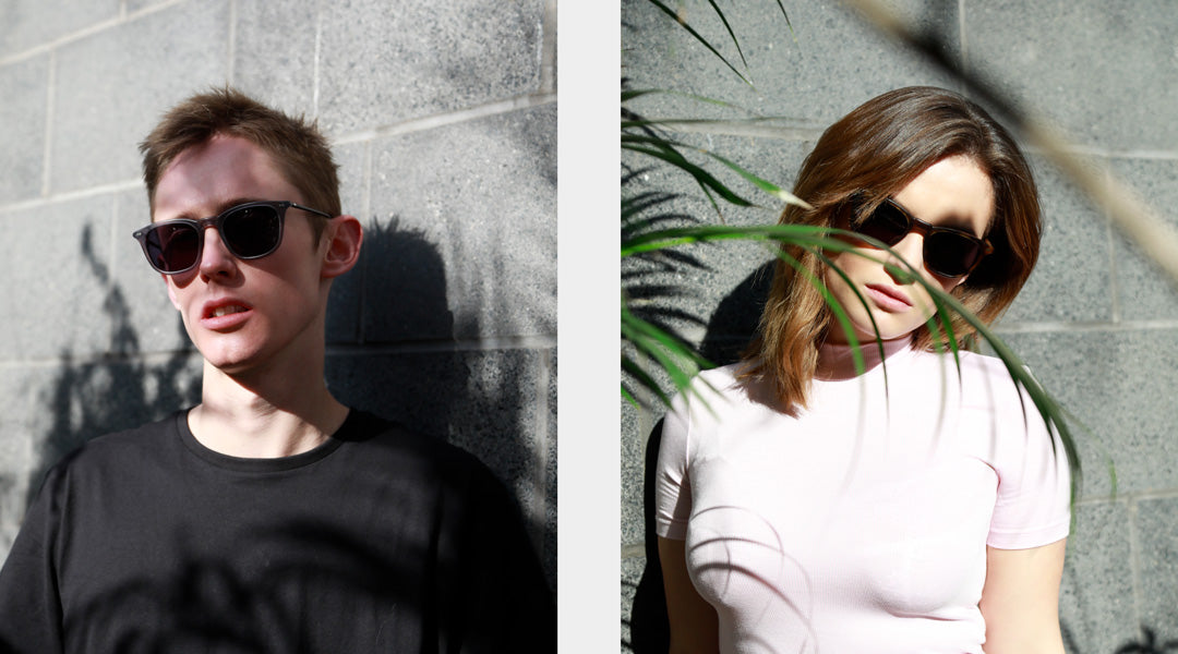 Dual image of man and women both wearing sunglasses frames on bright sunny day