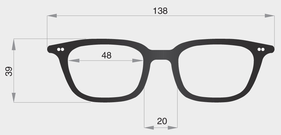 F spectacle model frame front dimensions