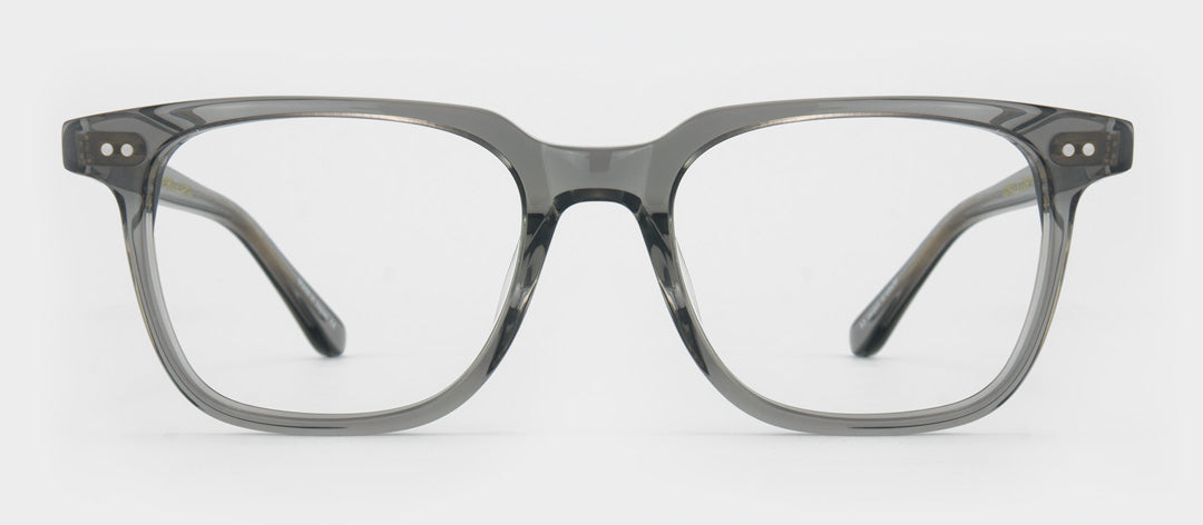 Front view of square grey transparent glasses frame