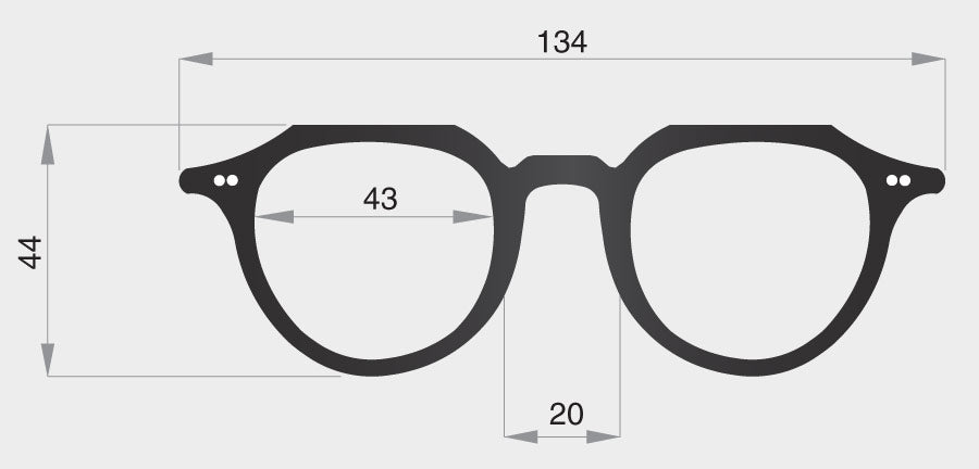 G spectacle model frame front dimensions