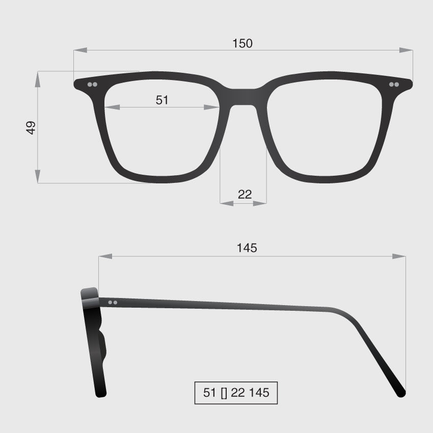 Glasses model A dimensions