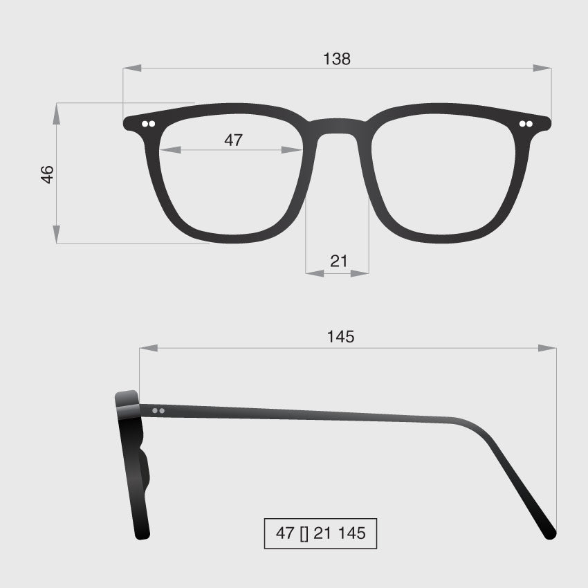Glasses model B dimensions