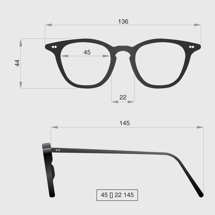 Glasses model C dimensions