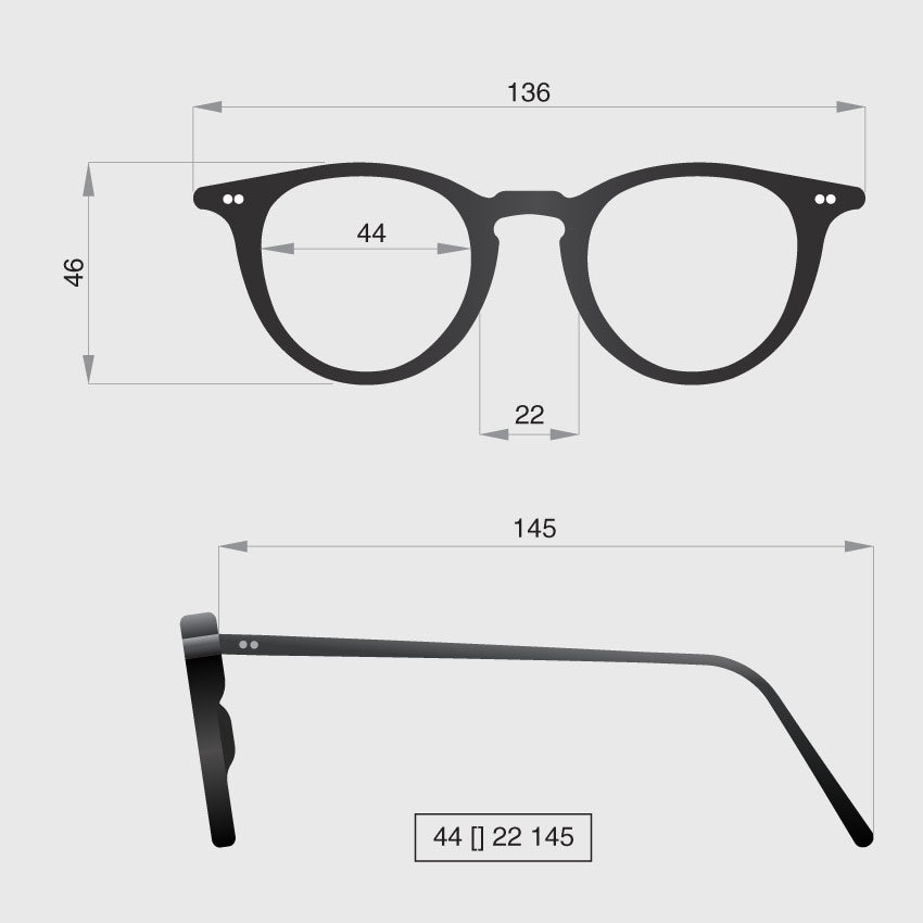 Glasses model D dimensions