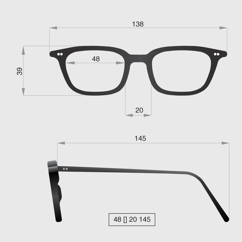 Glasses model F dimensions