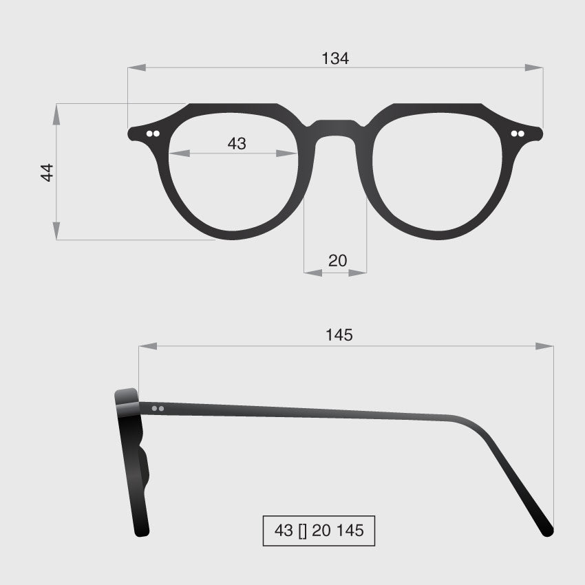 Glasses model G dimensions