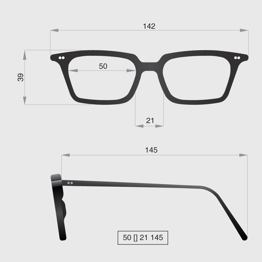 Glasses model H dimensions