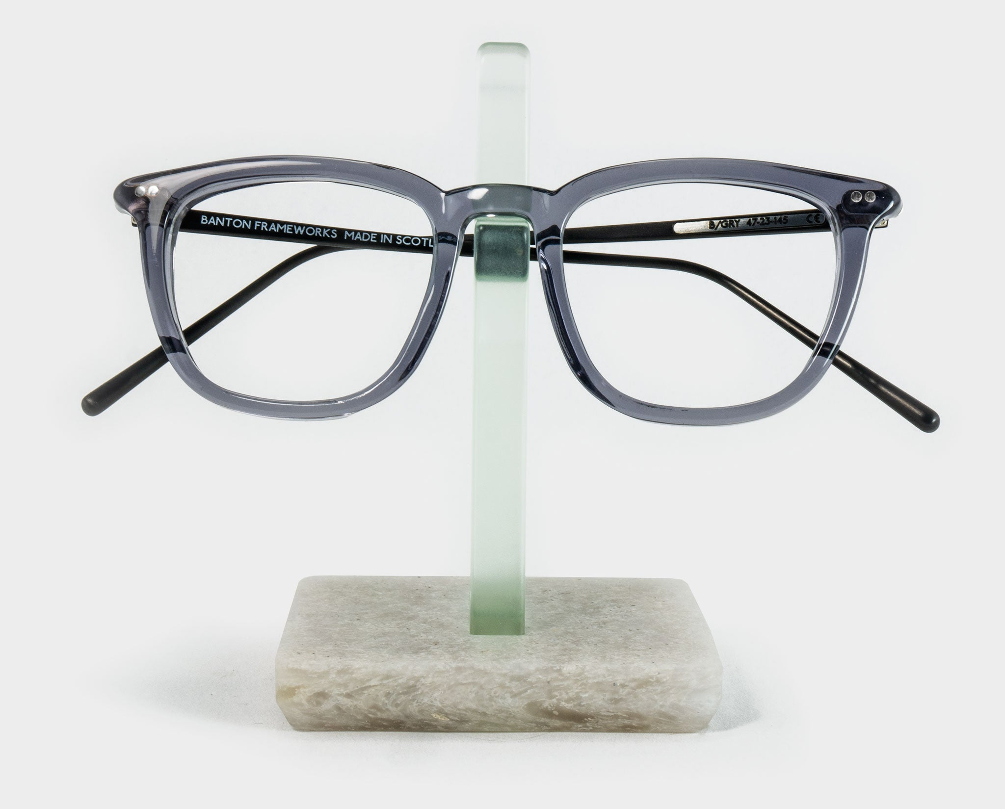 Green Spectacle Holder with glasses front view