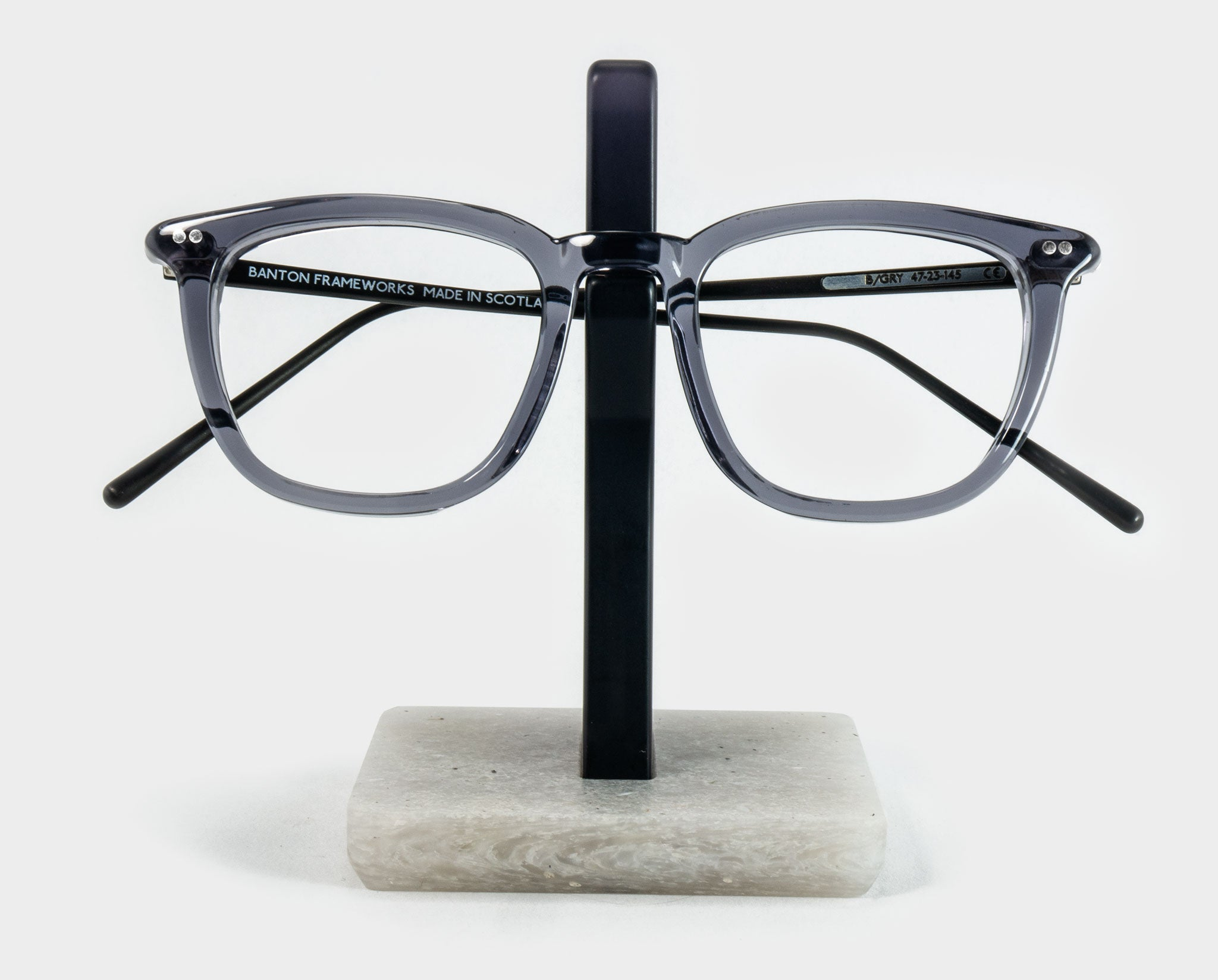 Grey Spectacle Holder with glasses front view