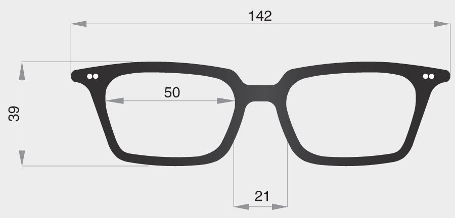 H spectacle model frame front dimensions