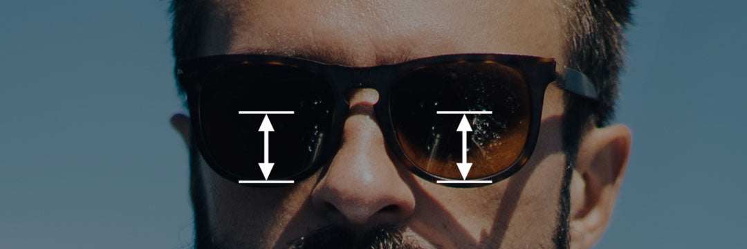 Illsutration of occular centre heights on a varifocal sunglasses frame