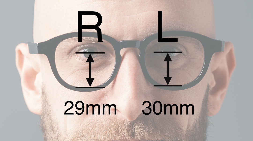 Illustration of ocular height measurements overlaying a man wering glasses