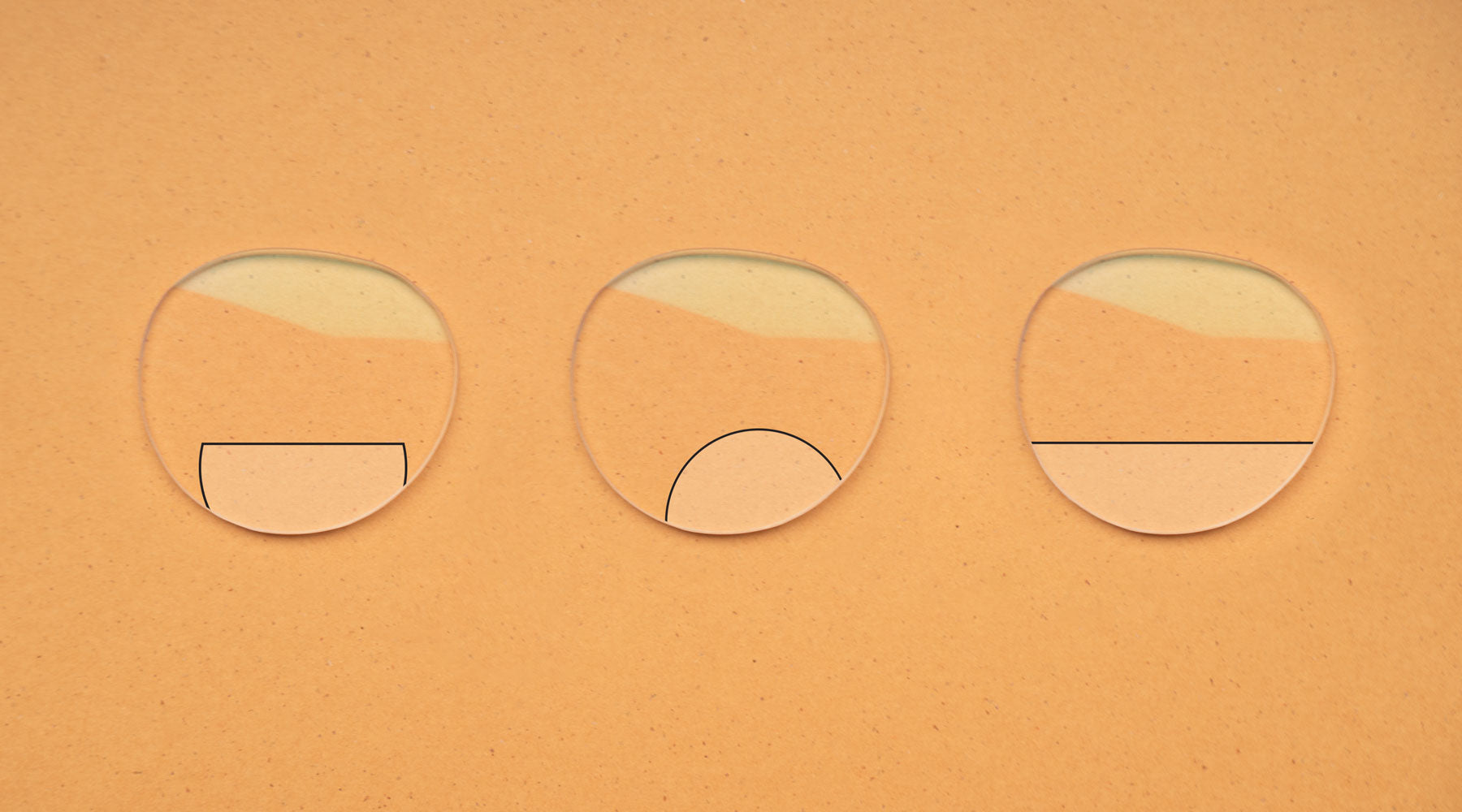 Illustrations of different types of bifocal lenses