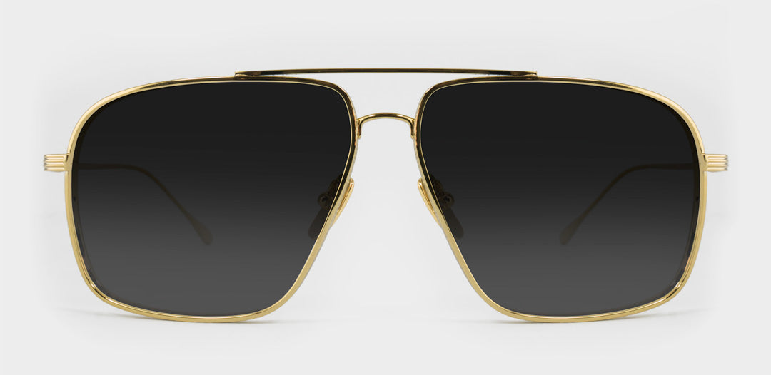 Large gold wire frame Aviator sunglasses with grey polarised lenses