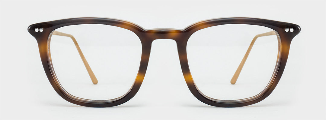 Large rectangular tortoise glasses frame with thin rose gold arms