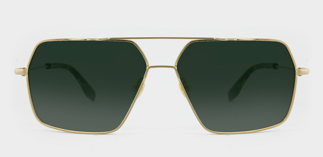 Large square wire frame sunglasses with green polarised lenses