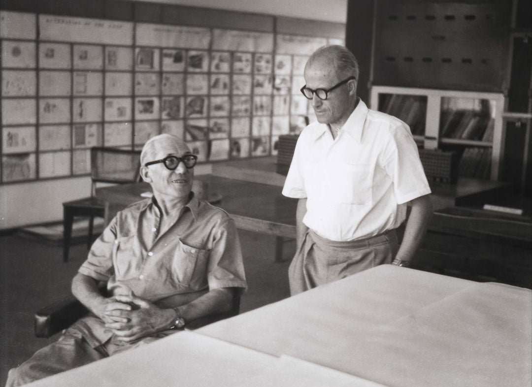 Le Corbusier and Pierre Jeanneret in the Architects' office in Chandigarh, India, 1950