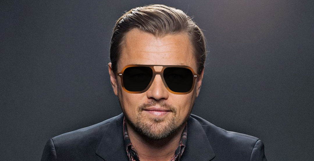 Leonardo Dicaprio wearing large square aviator sunglasses