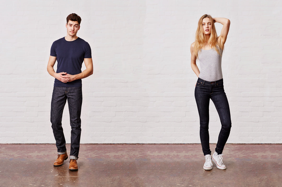 Click image of models wearing jeans to access Hiut Denim website.