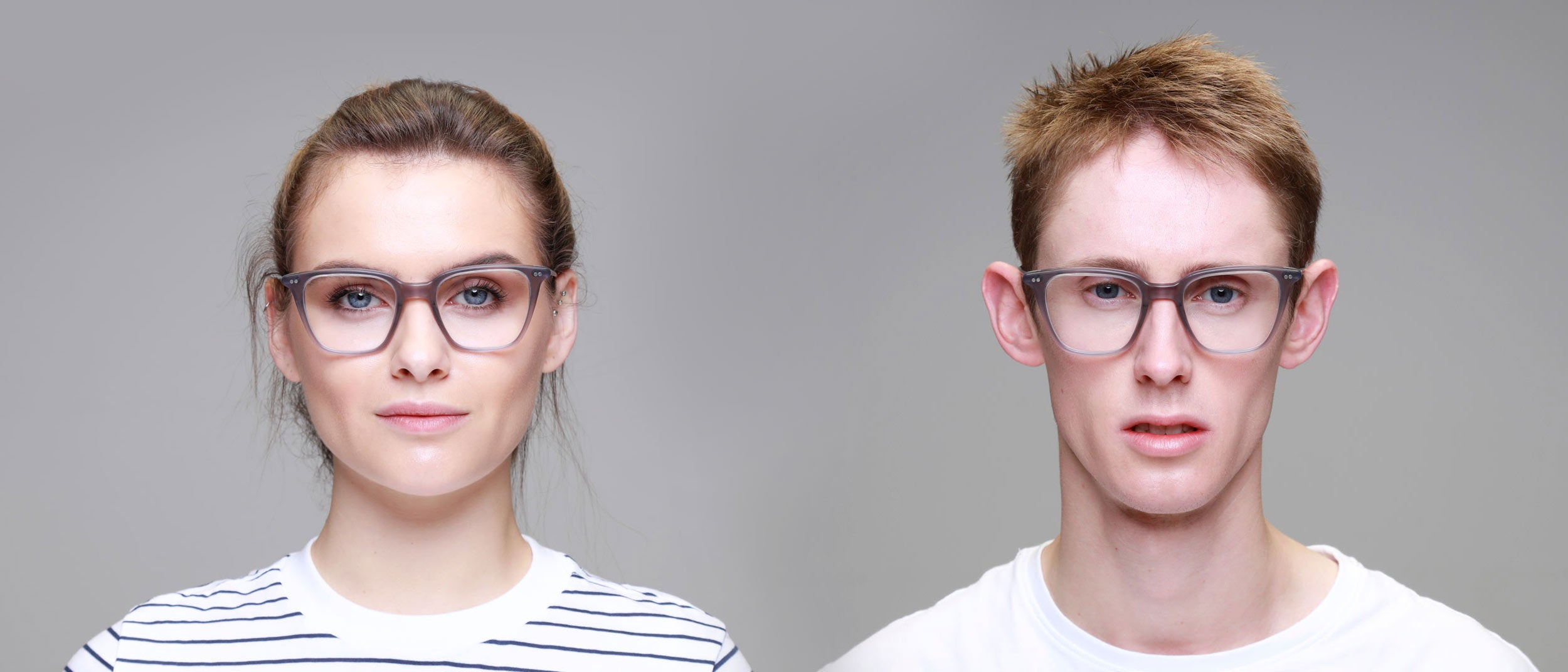 Man-and-Woman-Wearing-Varifocal-Large-grey-frame-glasses