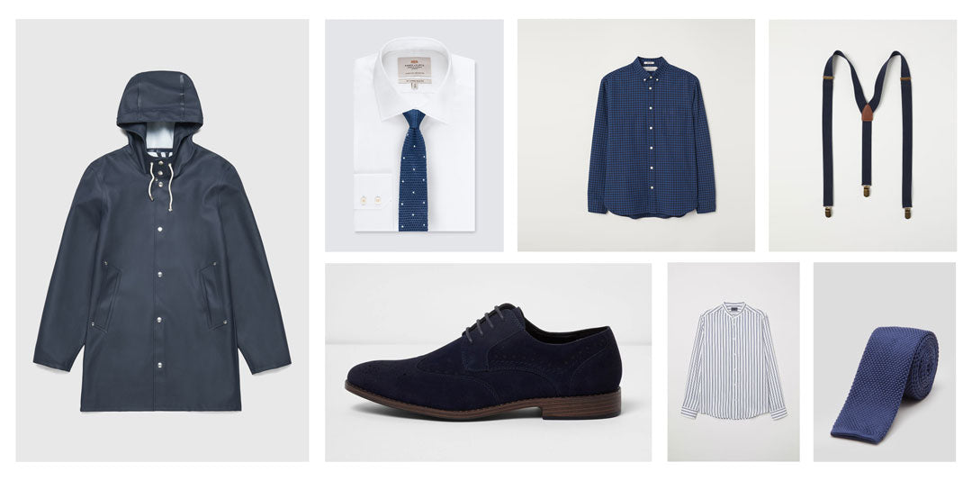 Mens clothes to wear with blue glasses with grey hair
