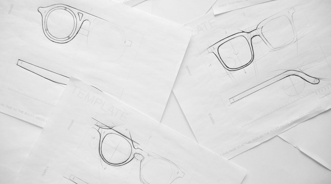 Multiple sketches of sunglasses frames using a printed design template