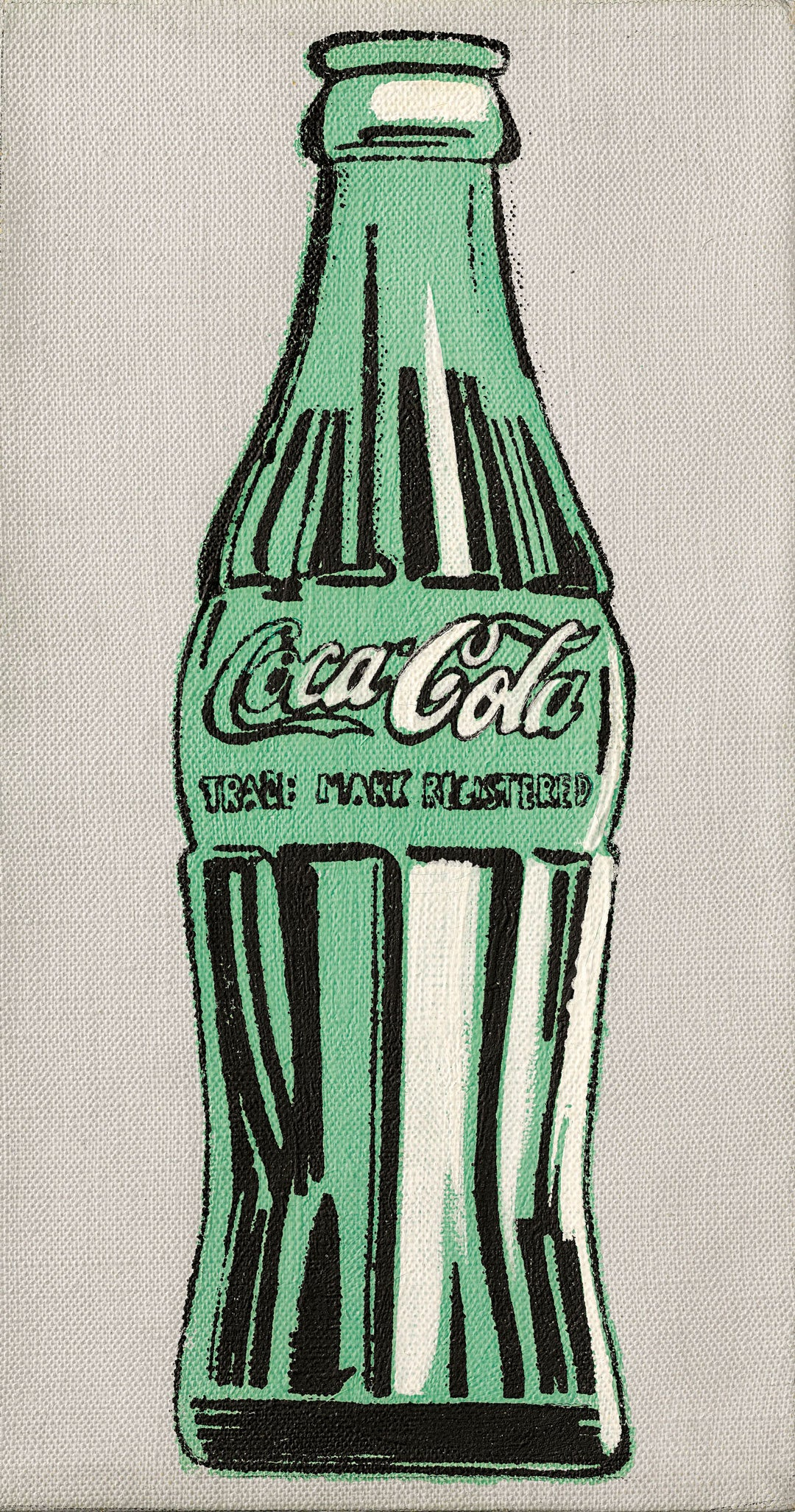Oil painting of a green Coca Cola bottle