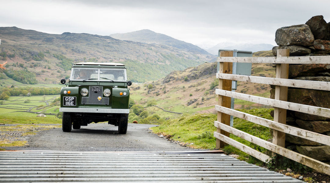 Old green Land Rover driving over cattle grid