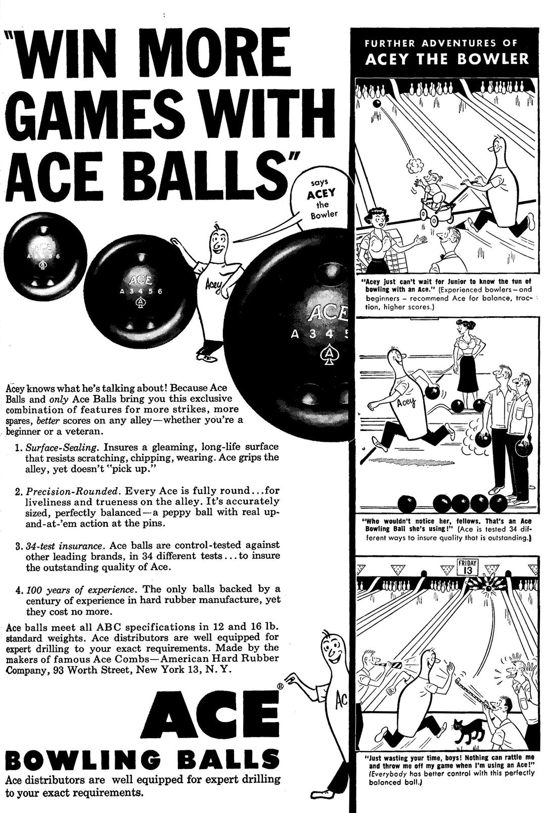 Old poster advert for Ebonite Bowling balls