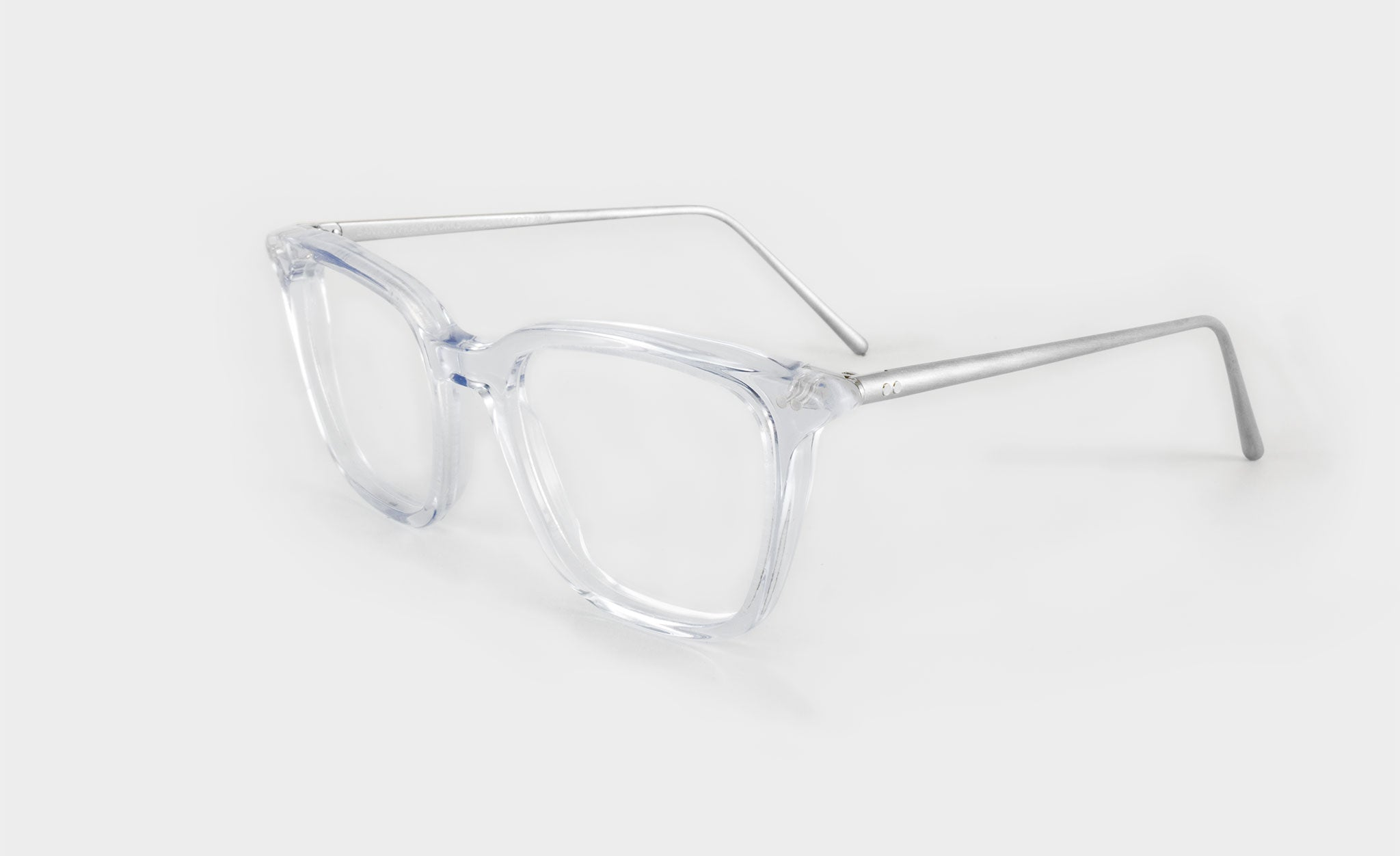 Optical clear frame glasses side view