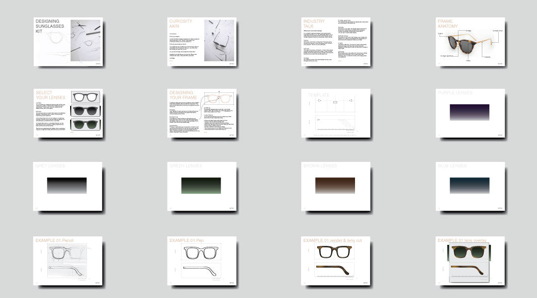 Pages of a PDF guide to designing sunglasses laid out in a tile formation